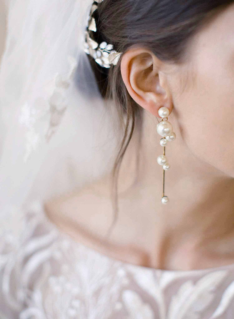 Pearl dewdrop earrings - Style #2071