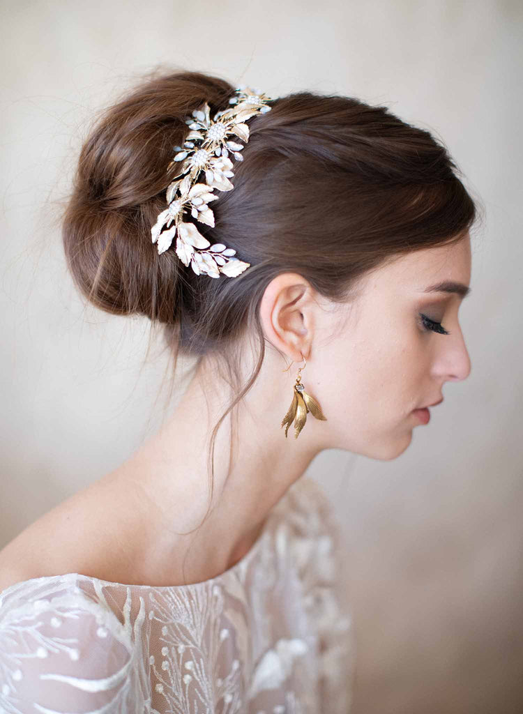 Bridal leaf and opal crystal hair comb - Style #2064