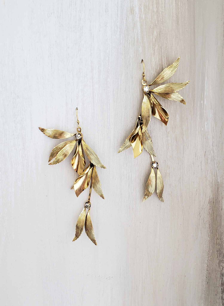 grecian inspired gold drop earrings, bridal, twigs and honey, weddings