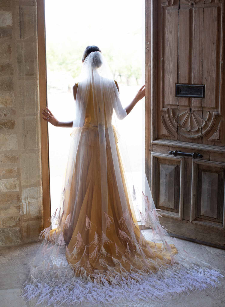 Ombré feather trim chapel train veil - Style #2076