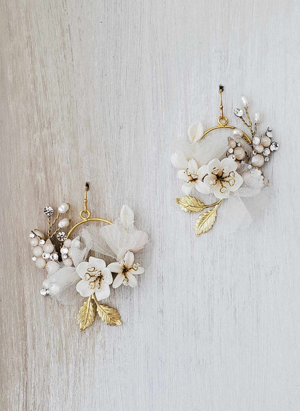 Petite Creamy floral bridal earrings