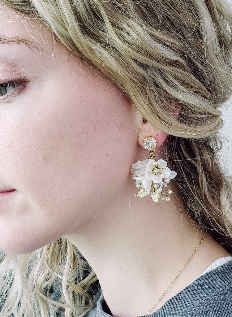 bridal floral earrings by Twigs & Honey