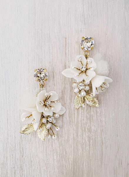 Petite floral and crystal bridal earrings