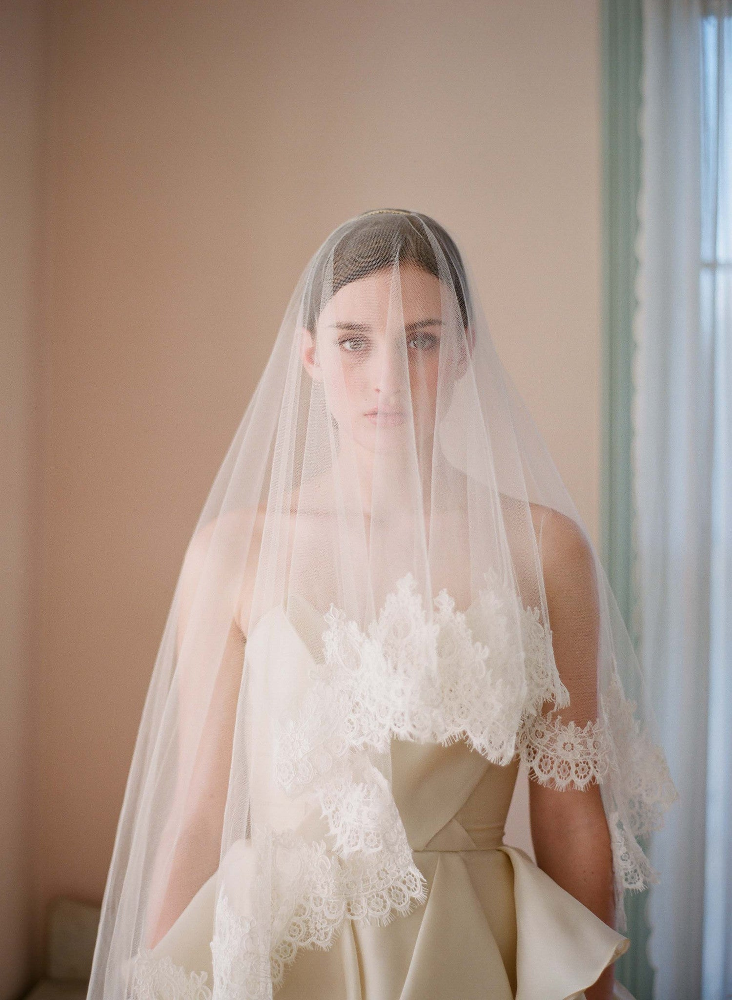 alencon lace trimmed veil, twigs and honey