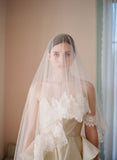 lace trim silk tulle veil, blusher, fingertip veil, wedding veil, bridal veil