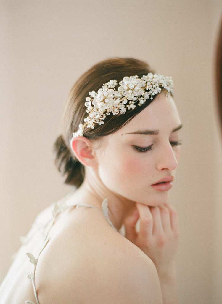 Golden flower and rhinestone headpiece - Style # 240
