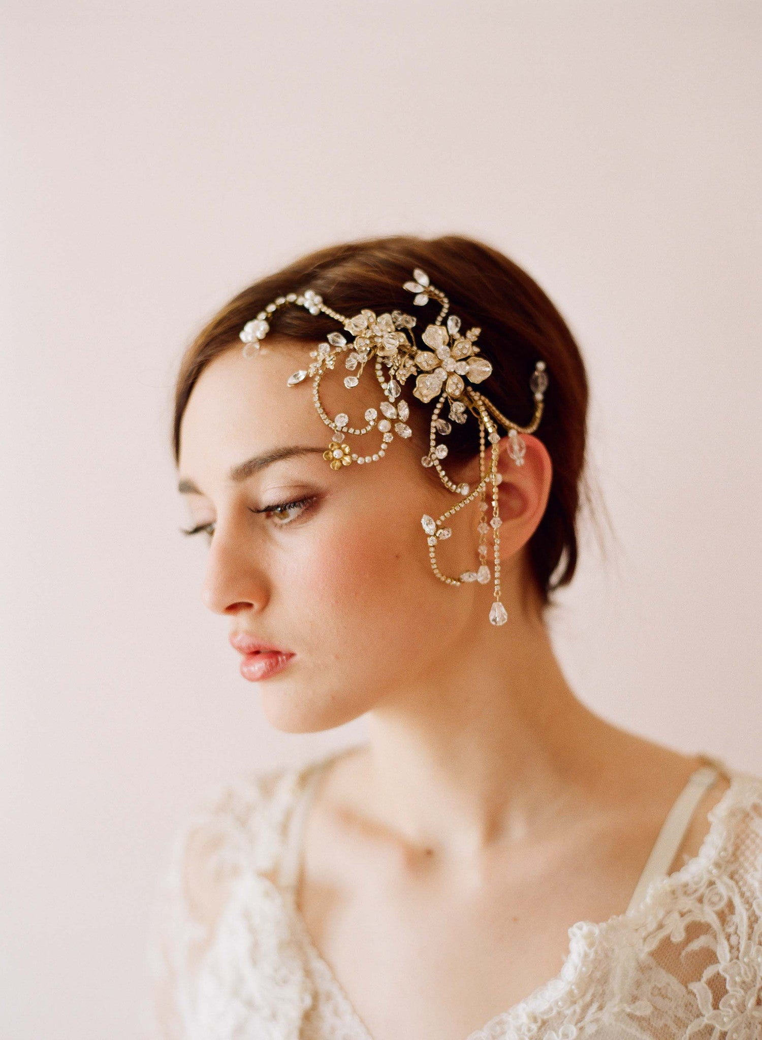 Dazzling twisted rhinestone and pearl headpiece - Style # 245