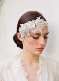 Embellished lace and rhinestone headpiece - Style # 252