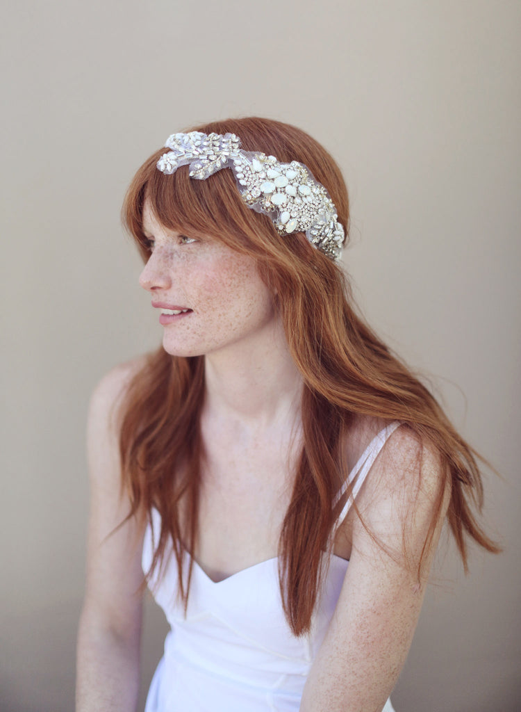 Crystal and beaded headwrap - Style # 327