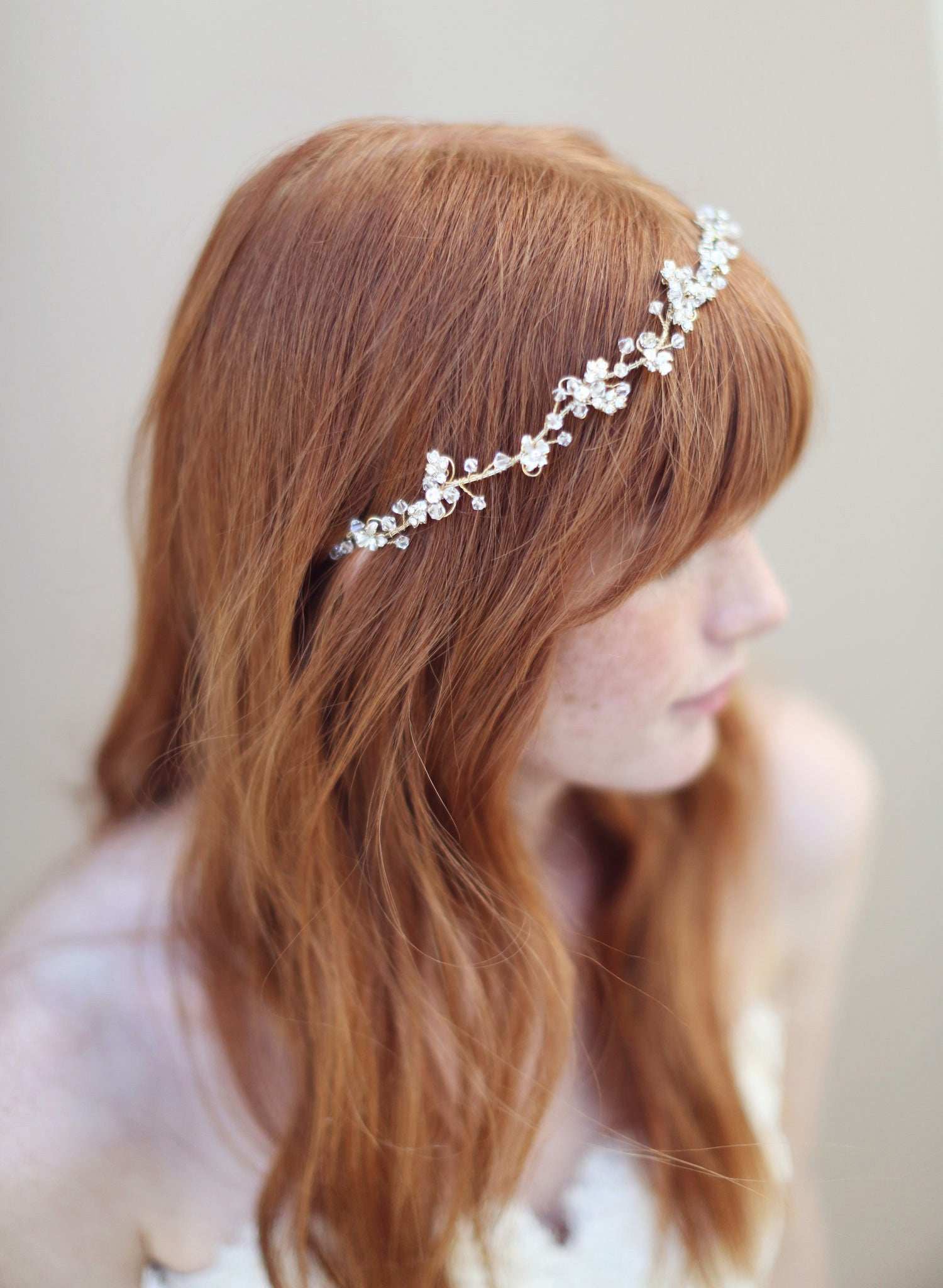 Enchanted Floral And Crystal Hair Vine Style 335