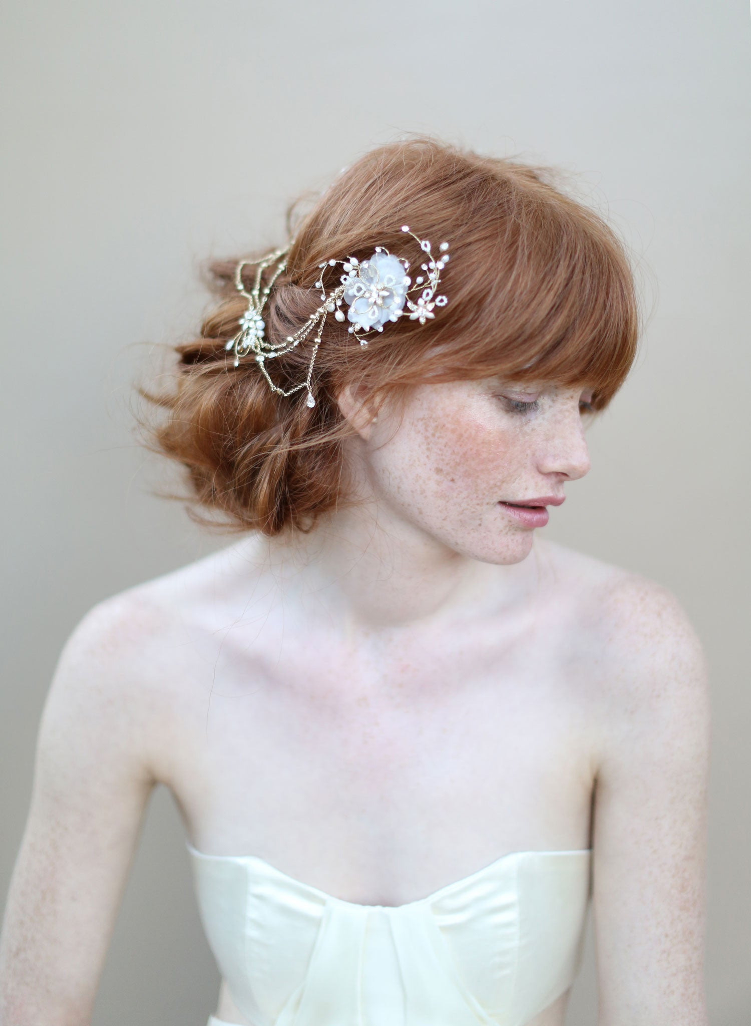 Double flower headpiece with chain swags - Style # 343