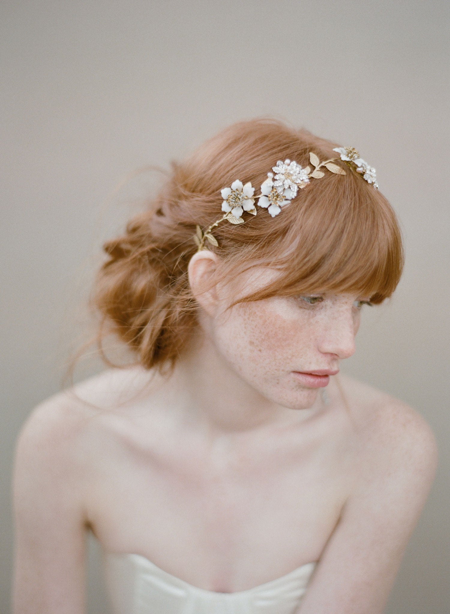 Pearl and crystal blossom twig headpiece - Style # 354