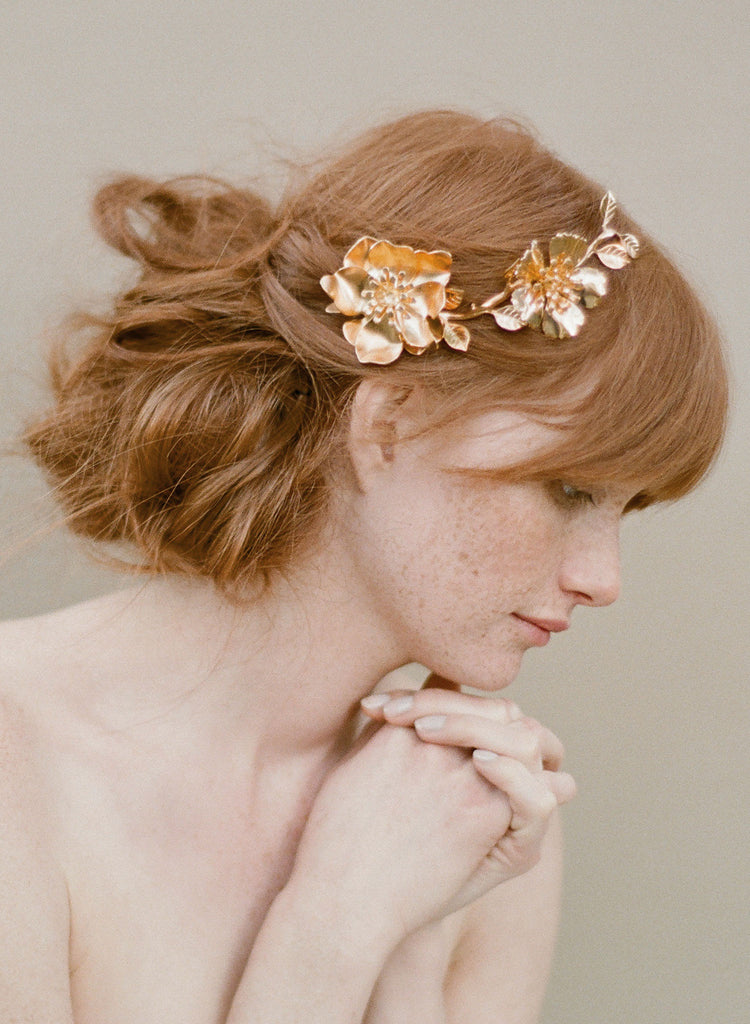Golden Rose and blossom branch headpiece - Style #355