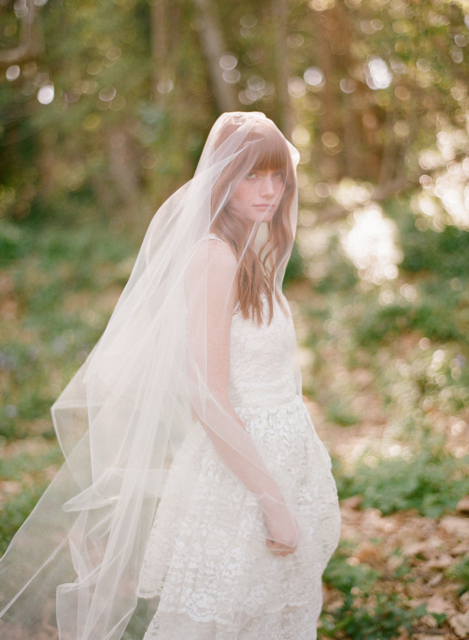 Petite Bride Simple  cathedral  veil with blusher