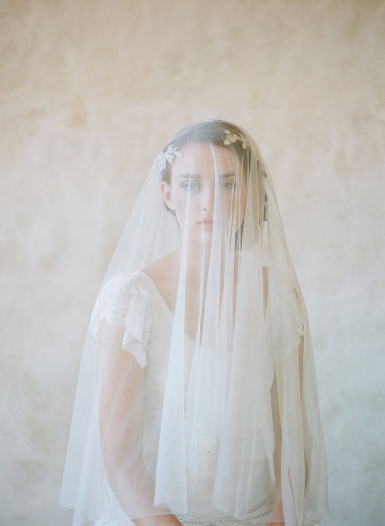 cathedral veil, lux high quality tulle, twigs and honey veil, fingertip veil