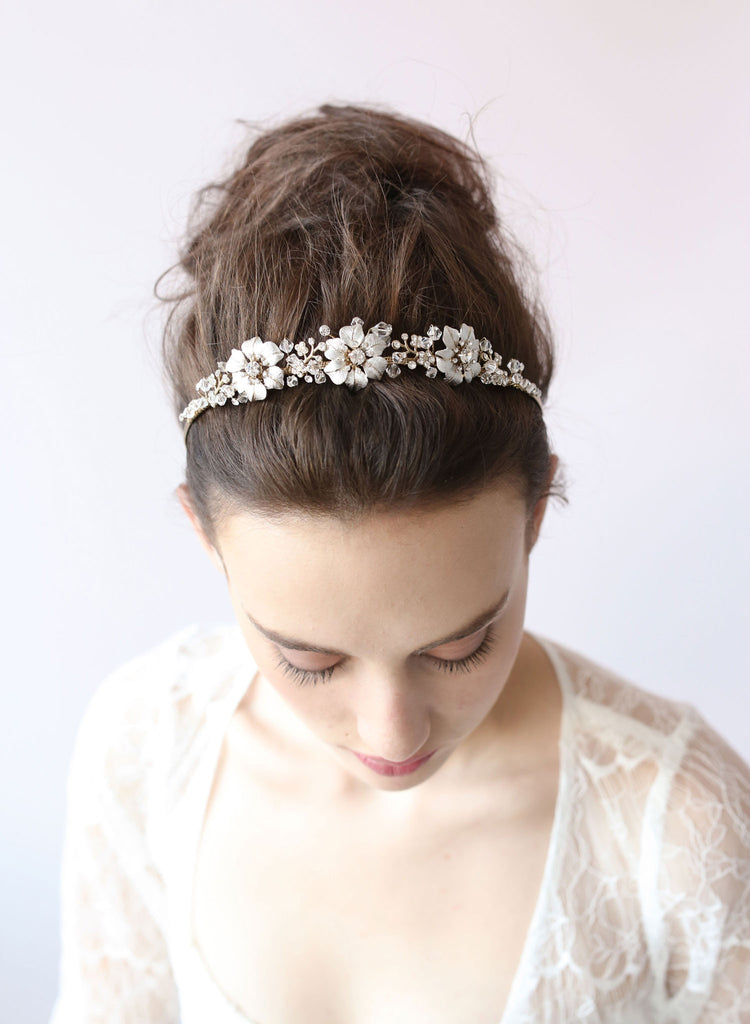Triple Blossom Crystal Tiara - Style # 401