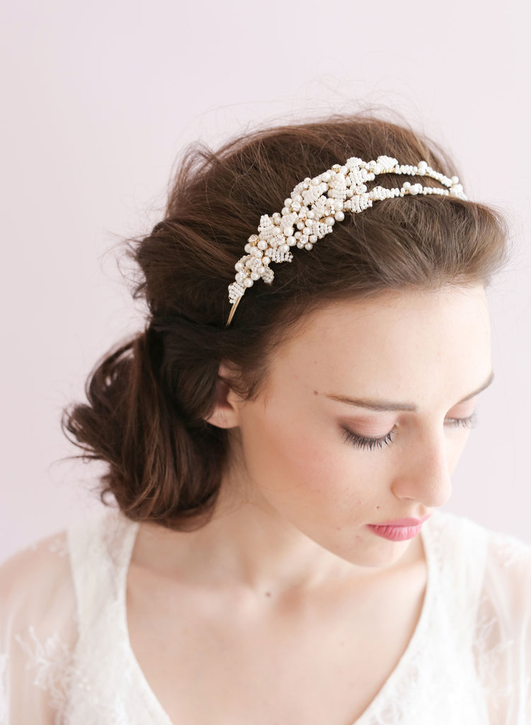Tiny bead leaves double headband - Style # 410