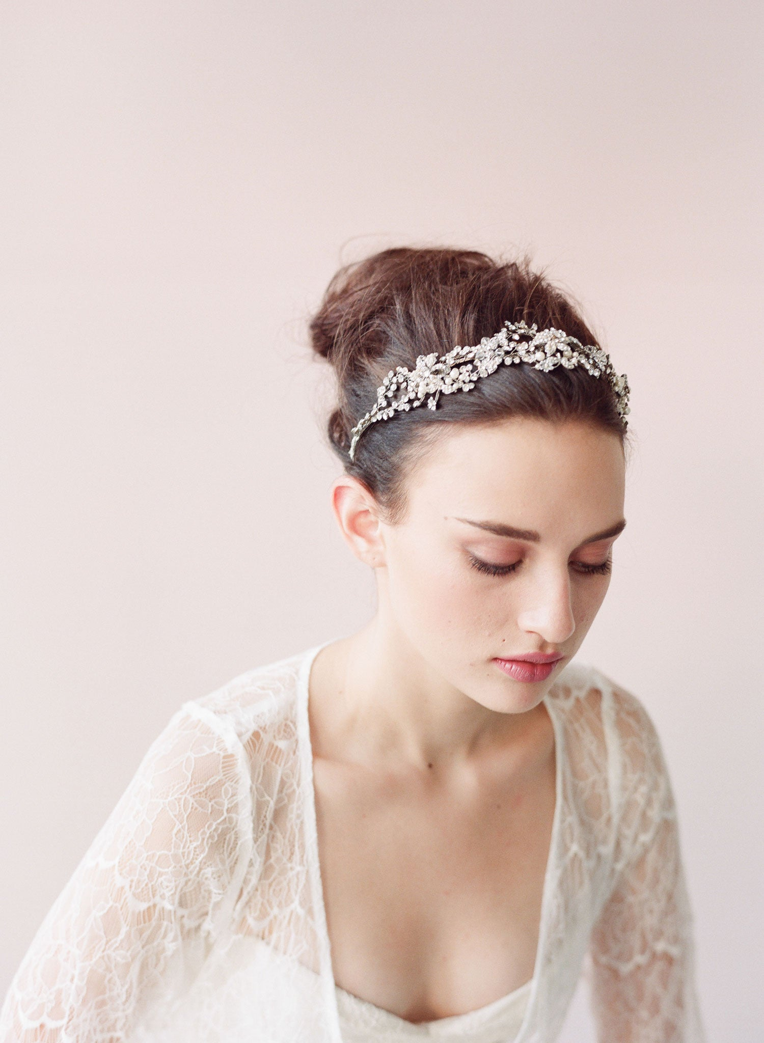 Regal crystal and blossom headband - Style # 411