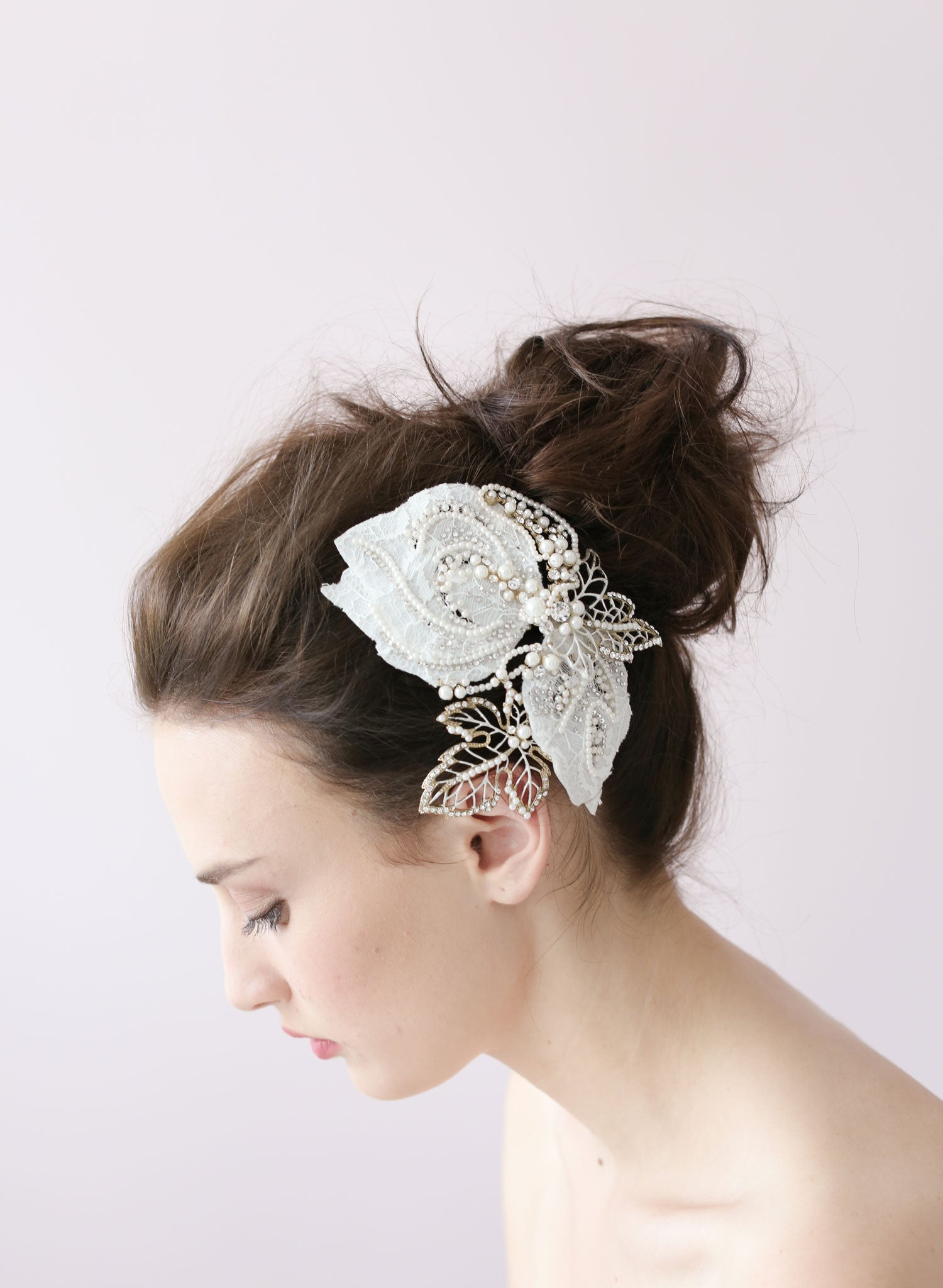 Lace and sparkle leaf hair clip - Style # 412