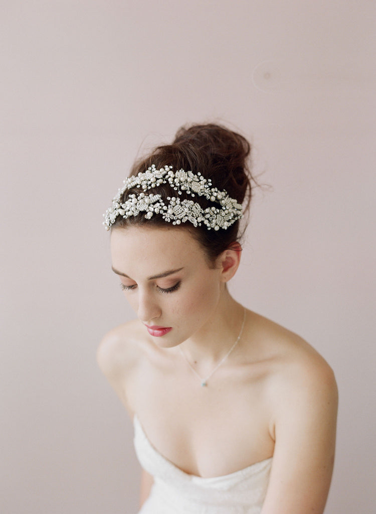 Double ornate beaded and crystal hair vine - Style # 413