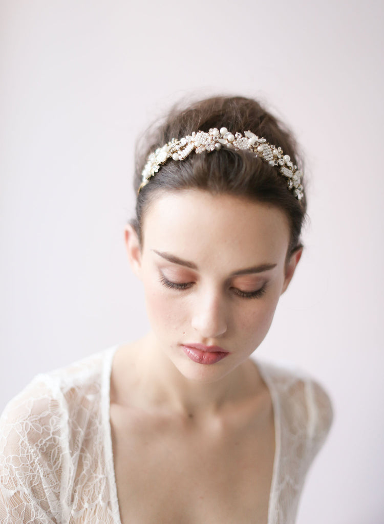 Pearl and beaded leaf cluster headband - Style # 416