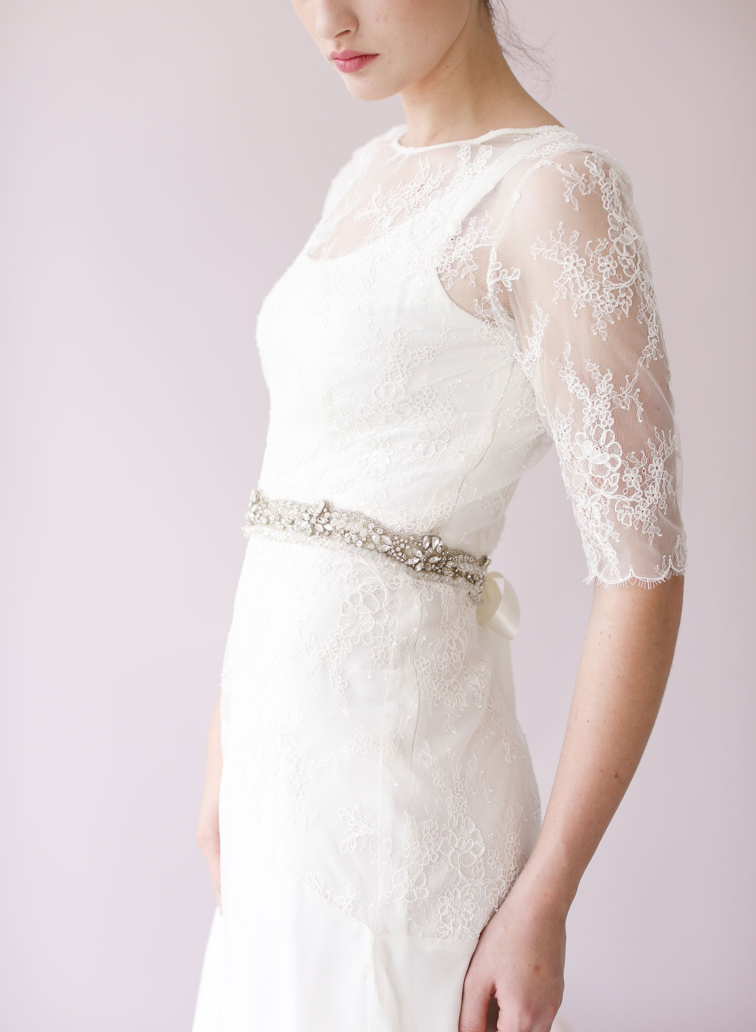Vintage Lace Inspired Crystal Bridal Sash Style 433 Twigs