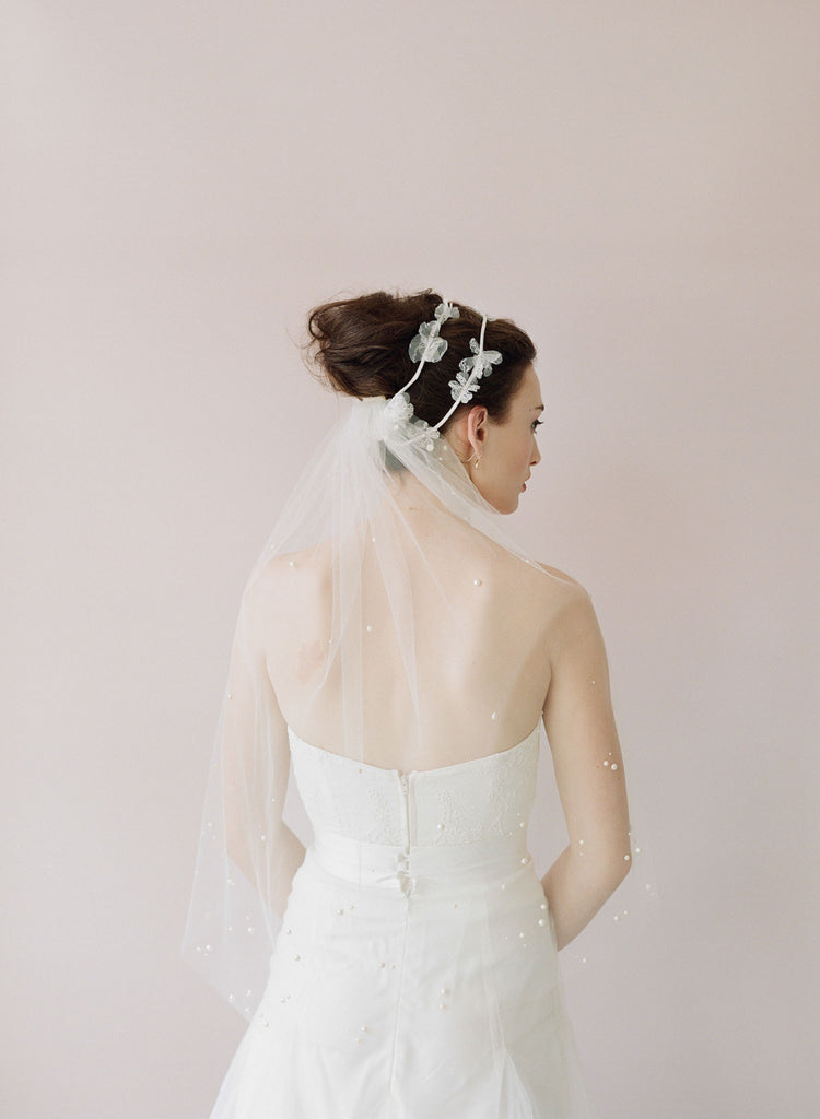 Pearl speckled elbow length veil - Style # 434