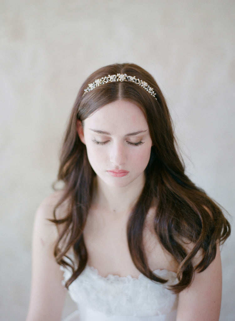 twigs and honey headband, dainty and delicate modern tiara, crystals, beads, gold