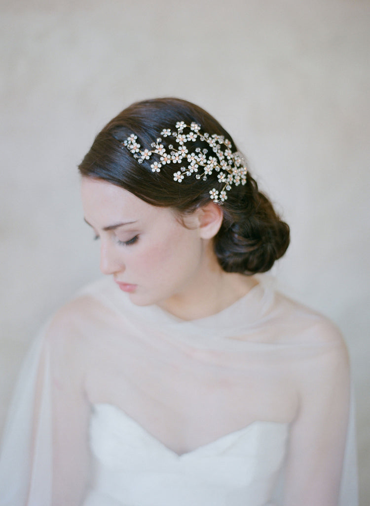 cherry blossom headpiece, crystal flower hair branch, twigs and honey, nature inspired