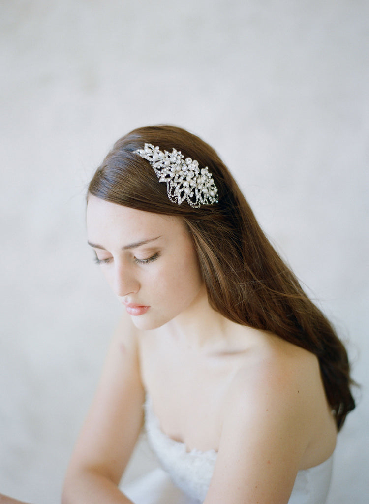 modern tiara, vintage crown inspired, crystal encrusted, twigs and honey headpiece