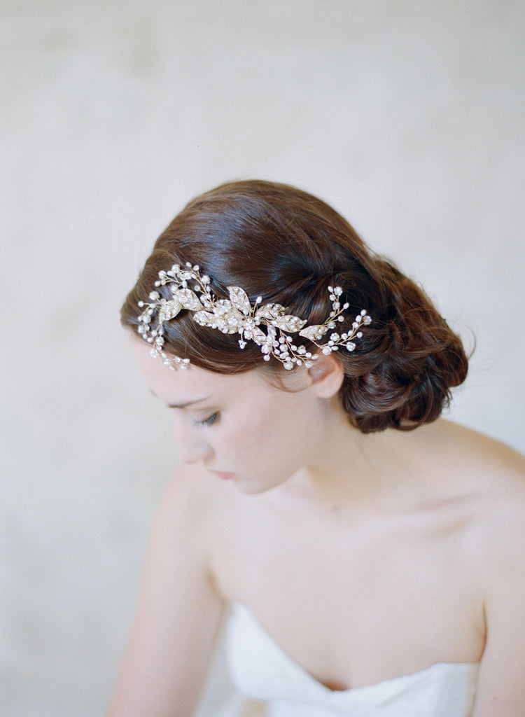 golden flower charm hair comb, headpiece, twigs and honey, crystals and pearls