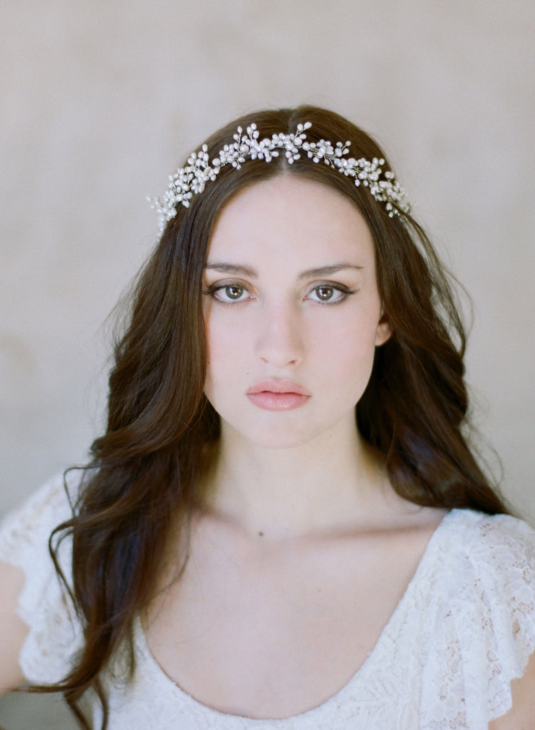 freshwater pearl baby's breath, twigs and honey, pearl bridal crown, wreath, headpiece
