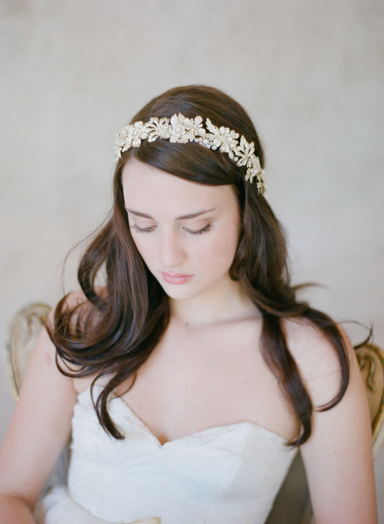 grecian inspired gold flower headband, headpiece, hair adornments, crystals, twigs and honey
