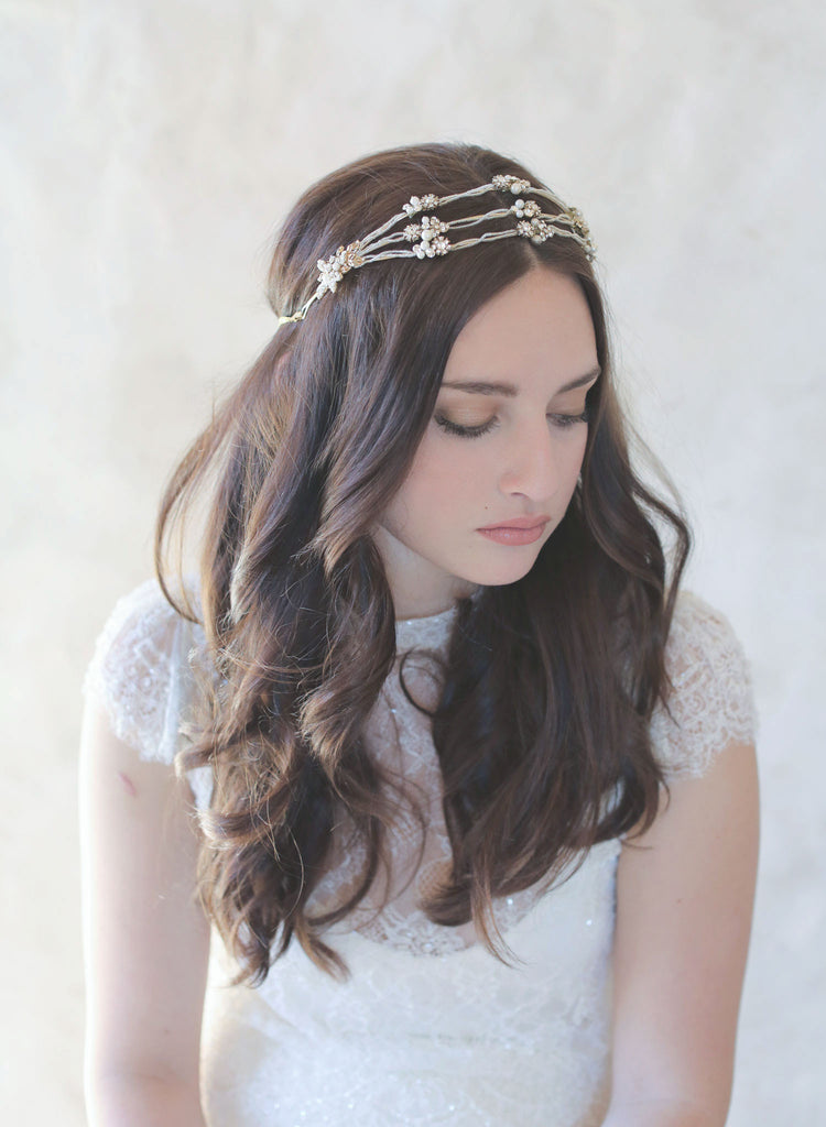 Vintage inspired, triple band bridal tiara, headpiece, crystals and charms, crown, halo