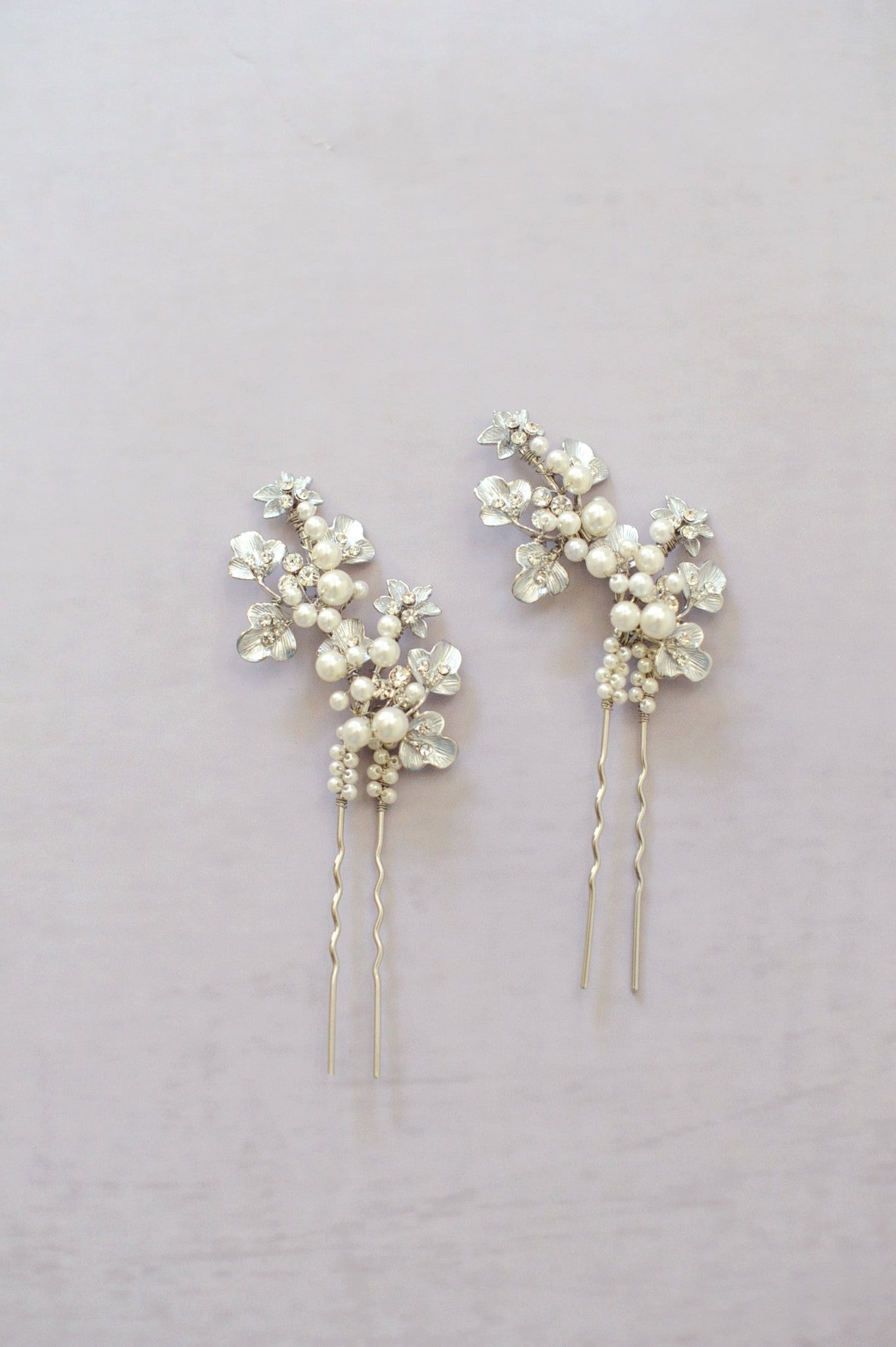 Pearl and leaf cluster bobby pin pair - Style #515