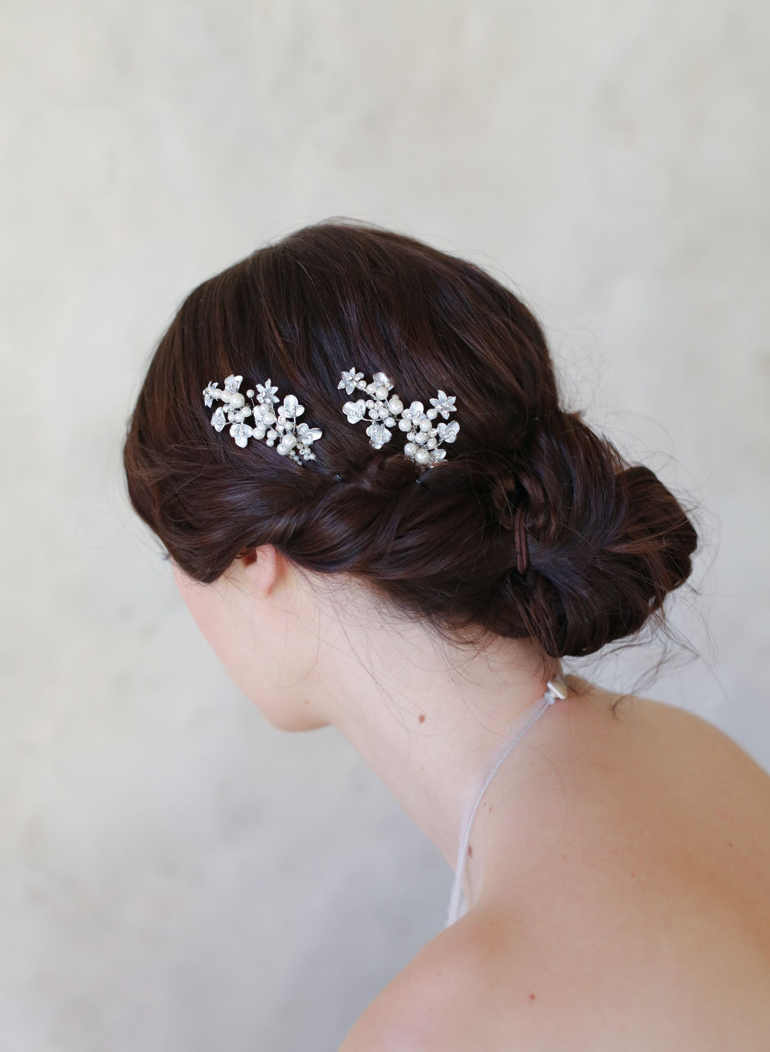 pearl and leaf cluster bobby pin pair - style #515 | twigs & honey