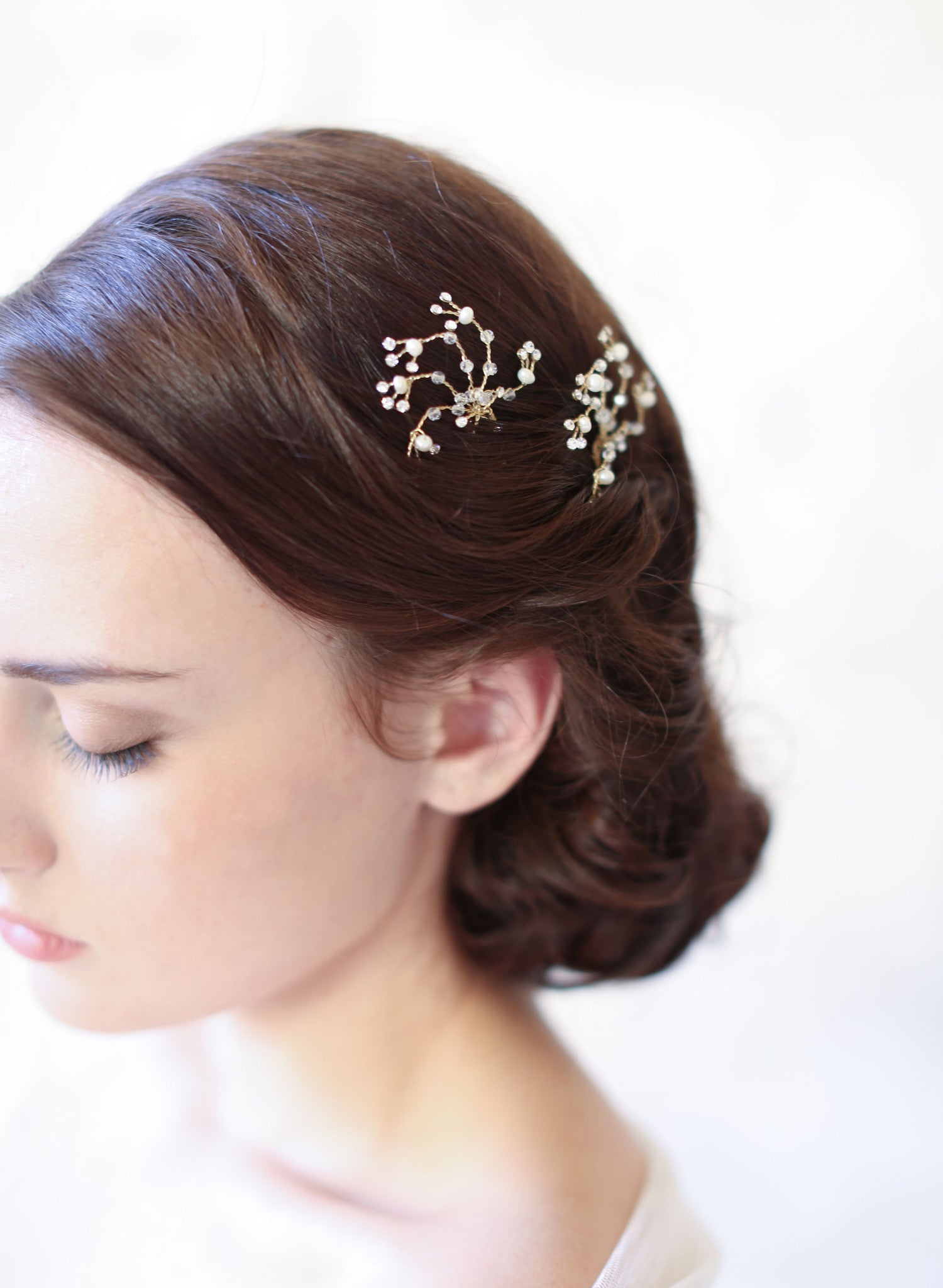 bridal hair bobby pins, crystal and pearl swirls | twigs & honey