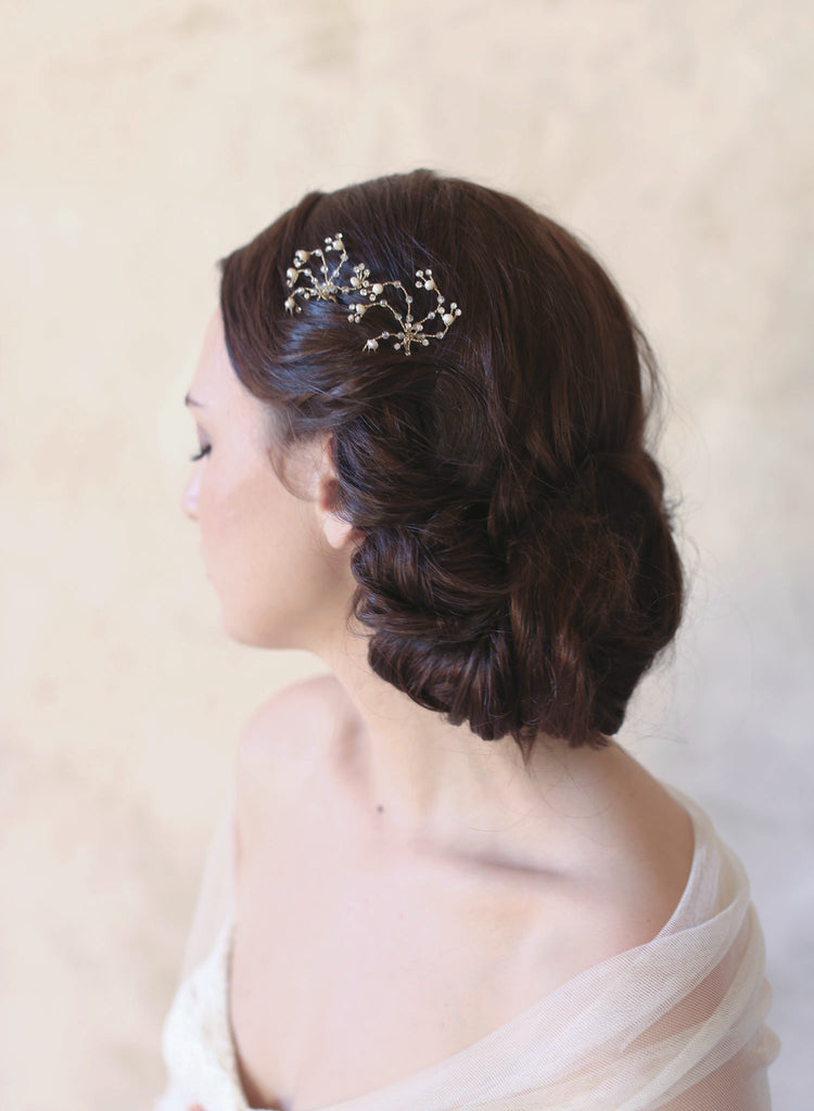 delicate crystal bobby pins, gold, silver, dainty, bridal hair, wedding hair pins, twigs and honey