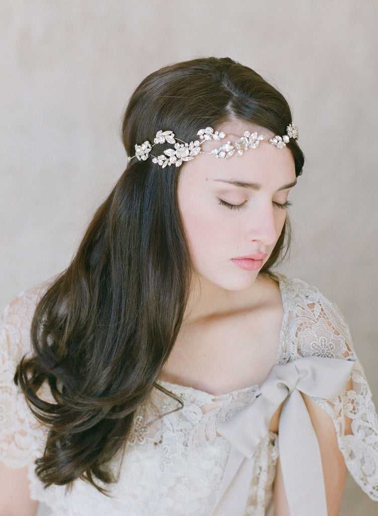 hand beaded bridal hair piece, headband, crystal encrusted, vintage inspired bride