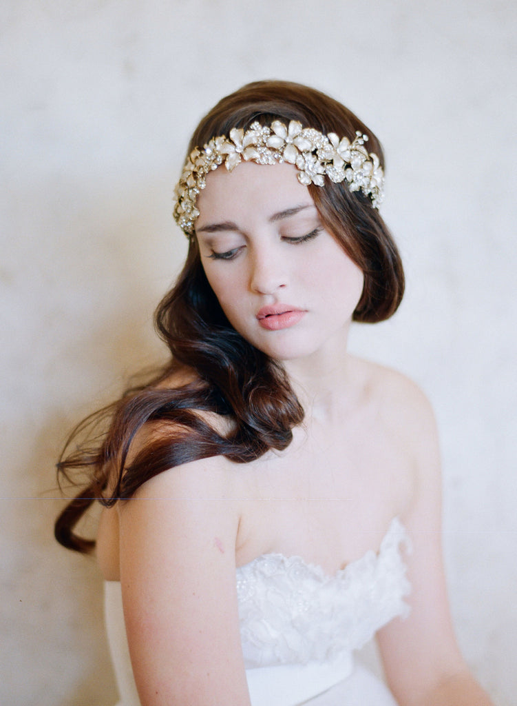 Oversized garden inspired flower crown, grecian vintage royalty, woodland fairy, gold flowers