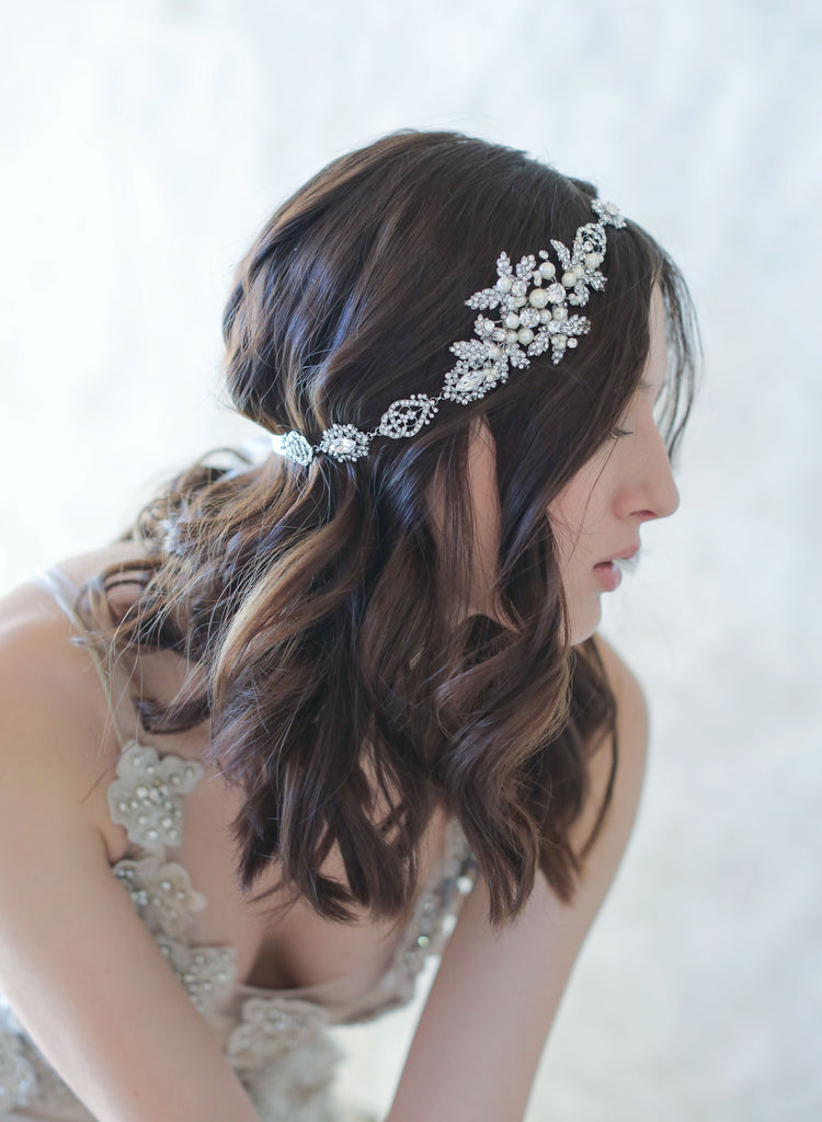 crystal leaf encrusted bridal headband, bridal sash, wedding headpiece, twigs and honey