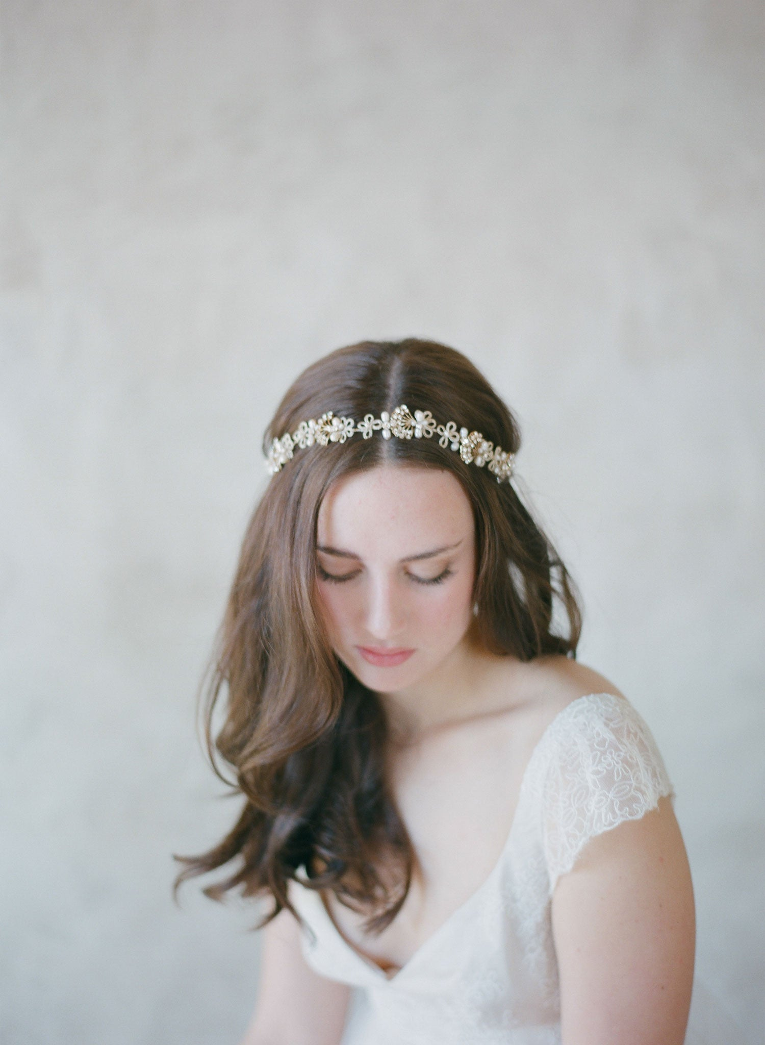Art deco inspired bridal headband with crystals and pearls | Twigs ...