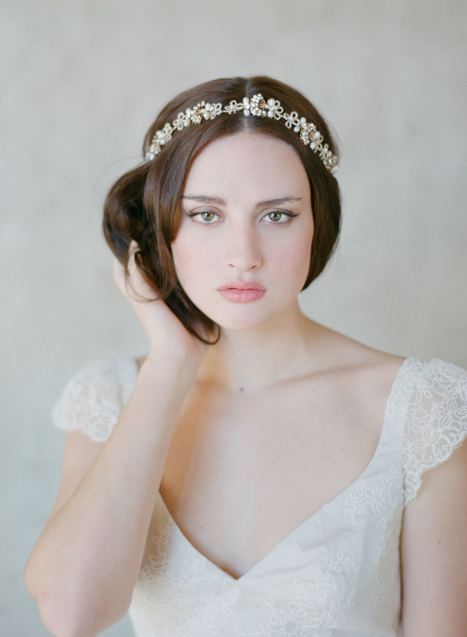 Art deco inspired bridal headband with crystals and pearls  359dd422600