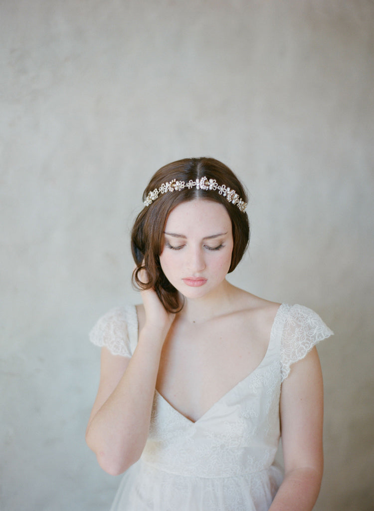 art deco inspired bridal hair piece, headpiece, vintage crystal headband, twigs and honey