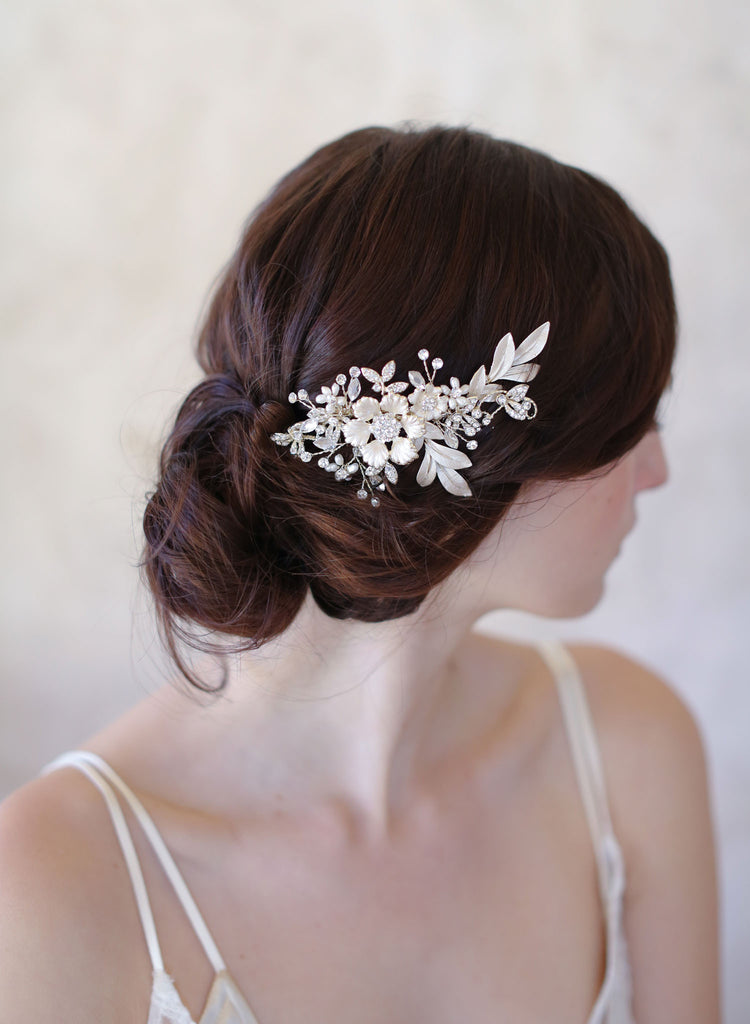 light gold bridal hair comb, flower charm headpiece, twigs and honey hair comb, wedding