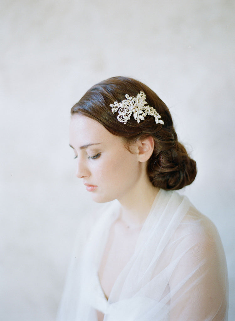 bridal lace and crystal hair comb, twigs and honey, hair clip, wedding headpiece, gold