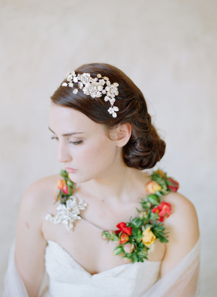 bridal flower headband, bridal headpiece, gold flower charms, vintage inspired