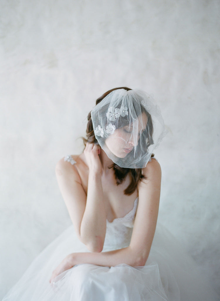 silk tulle bridal birdcage veil, silk flowers, hair comb, bridal hair veil, twigs and honey