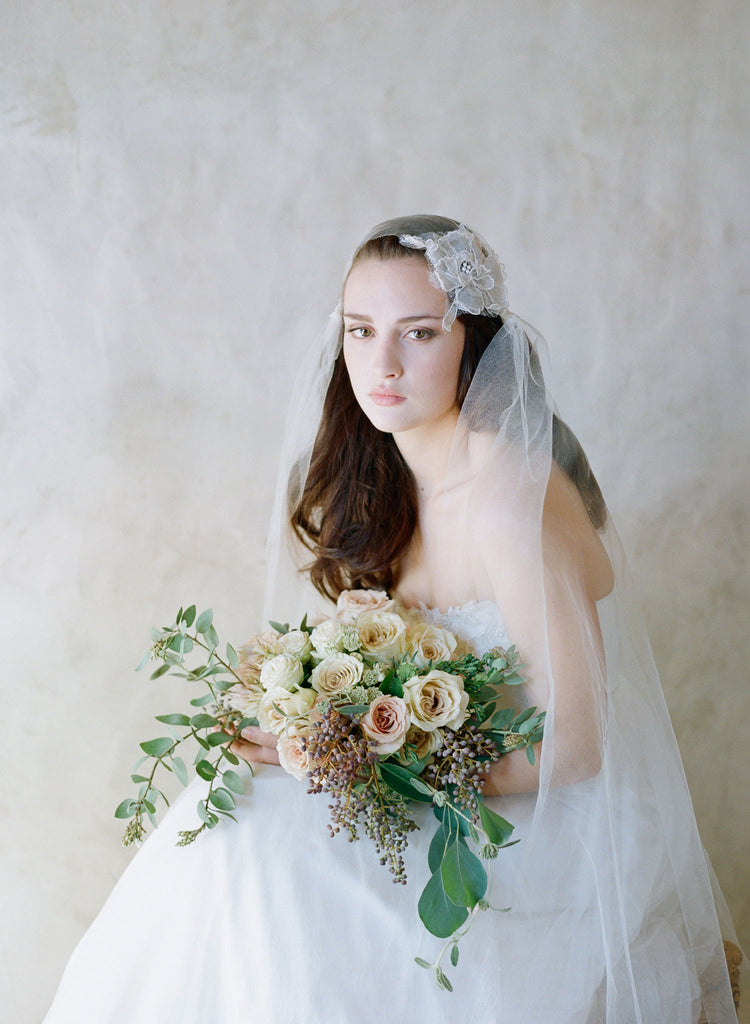 silk tulle french lace bridal veil, embellished and vintage inspired, twigs and honey
