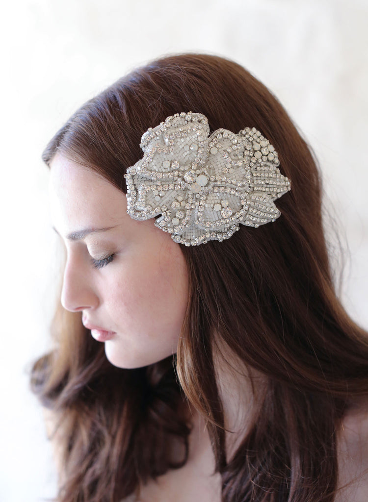 crystal encrusted headpiece, bridal hair flower, twigs and honey, bridal hairclip